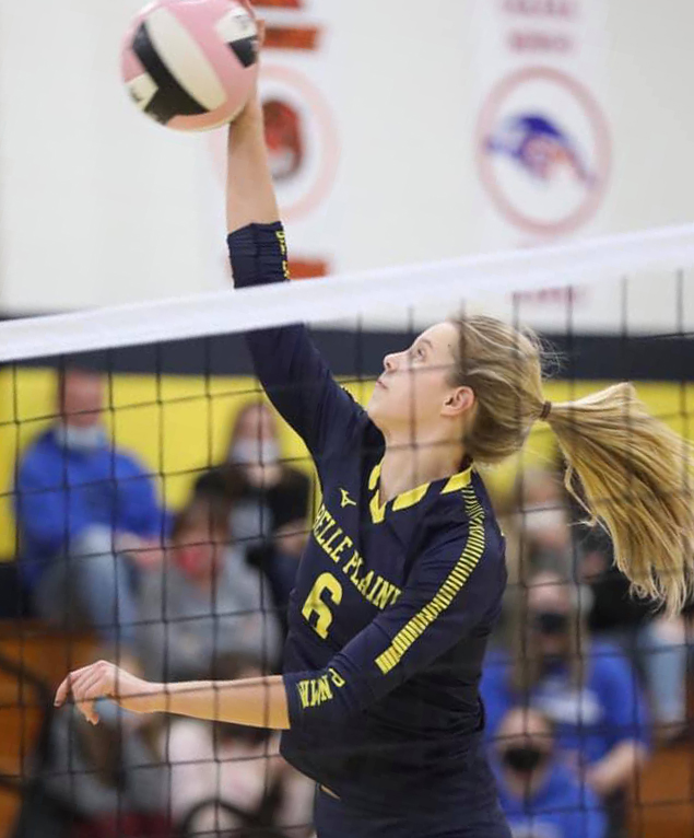 Alyssa Tegeler has a kill for Belle Plaine on the team's way to a 3-0 sweep of Montezuma, Monday, Oct. 26. Belle Plaine advances to face Springville on Wednesday, Oct. 28, at Van Horne. Photo by Les Jacobi.